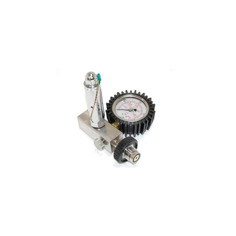 Adaptateur DIN 230 bar / 200 bar avec Soupape et manomètre